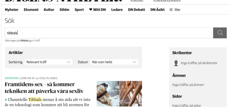 'Six of the Future, So Technology will Affect our Sex Life' (Commentary for Dagens Nyheter) UPDATED